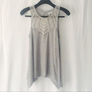 American Eagle Light Grey Tribal Embroidered Tank